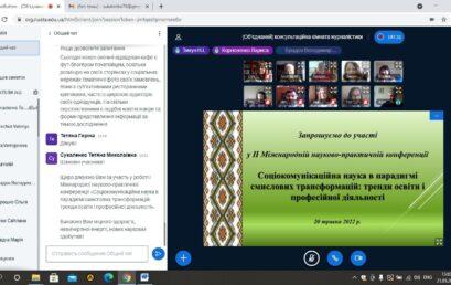 В університеті відбулася І Міжнародна науково-практична конференція «Соціокомунікаційна наука в парадигмі смислових трансформацій: тренди освіти і професійної діяльності»