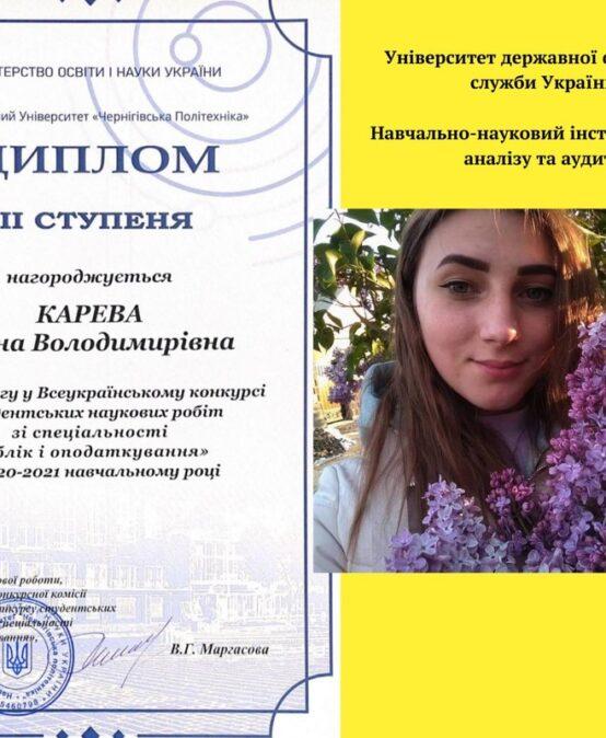 Студентка УДФСУ Олена Карева перемогла у II турі Всеукраїнського конкурсу студентських наукових робіт